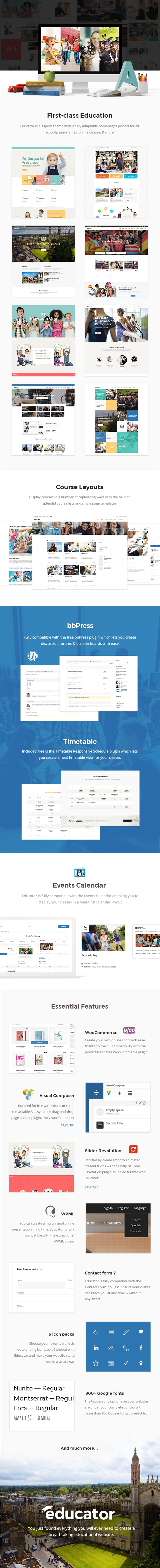 WordPress theme Educator - An Education and Learning Management System Theme (Education)